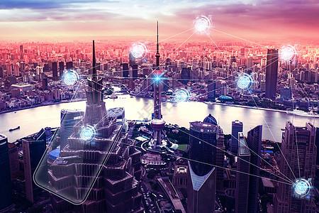 蓝色现代科技智慧城市背景图片