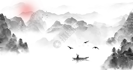 中国风夕阳渔船图片
