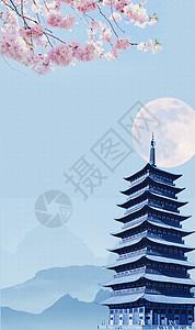 中国风宝塔桃花背景图片