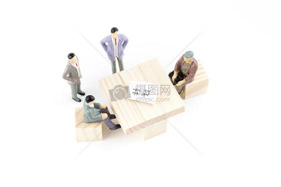 卡通商务形象商务谈判图片
