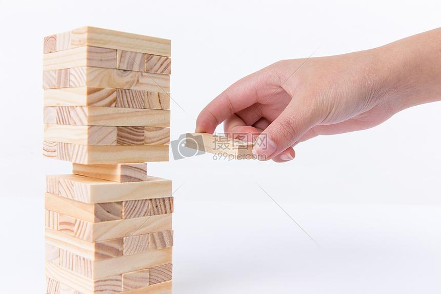 清新团队合作积木搭建图片