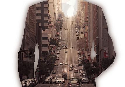 城市和人的剪影图片