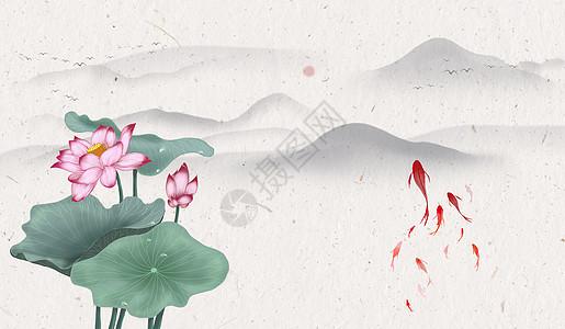 水墨荷花中国风图片