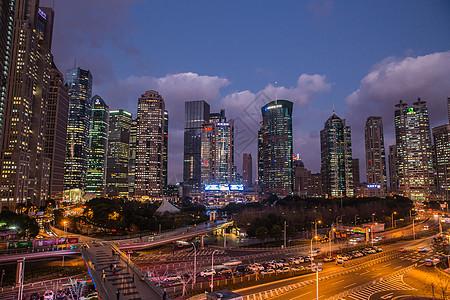 城市大气陆家嘴夜景图片