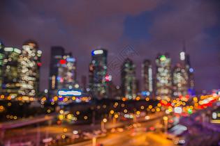 大气夜晚城市灯光虚化图片