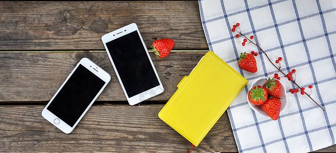 智能手机平铺拍摄图片