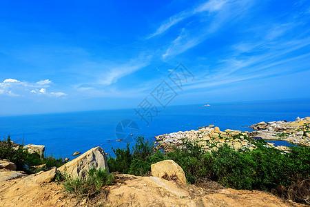 漳州六鳌蓝色的天空与大海图片