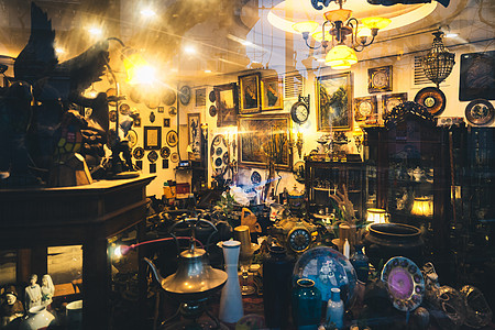 复古杂货店橱窗高清图片