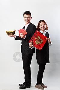 商务白背景人物素材男性与女性图片