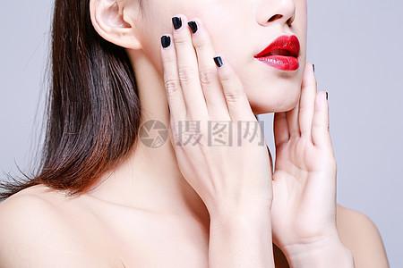 化妆美容性感美女嘴唇特写图片