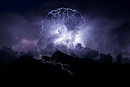 智能电动闪电形状的人头照在暴风雨云夜空图片
