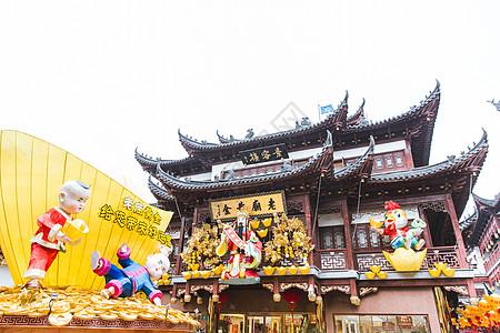 豫园鸡年春节财神福娃装饰图片