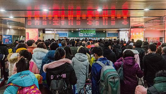 春运期间北京西站拥挤的客流图片