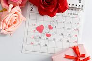 情人节日历爱心红色粉色玫瑰花在白色背景上图片
