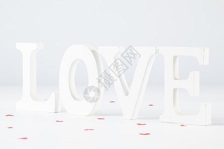 情人节白色字母背景图片