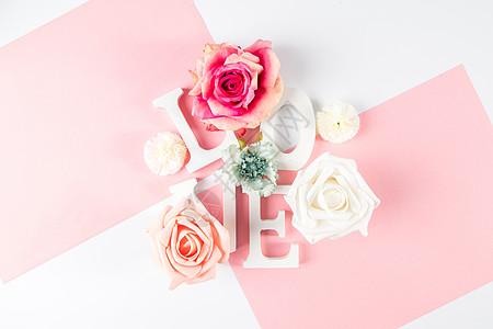 情人节粉色浪漫玫瑰花背景图片