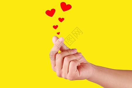 情人节恋爱爱心手势背景合成素材图片
