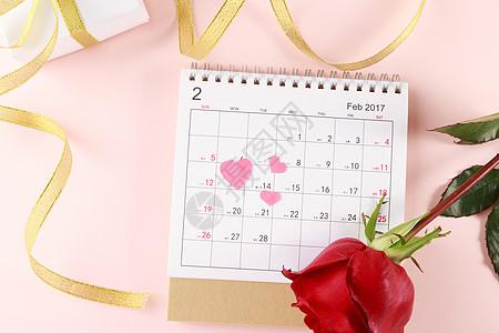 平铺情人节日历玫瑰花礼物盒图片