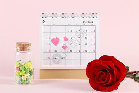 情人节日历玫瑰许愿星图片