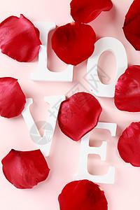 情人节玫瑰花LOVE英文字母图片