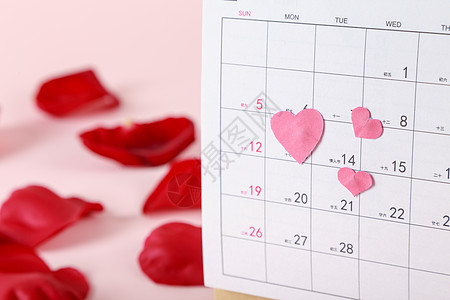 情人节红色玫瑰日历图片