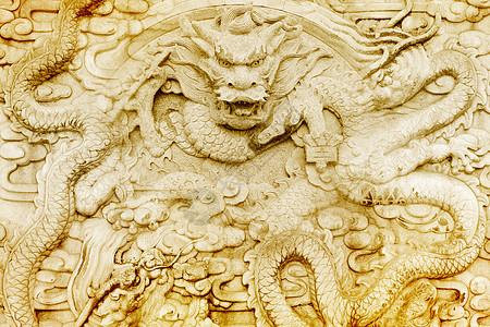 墙面雕刻的金龙图片
