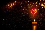 情人节浪漫的爱心蜡烛图片