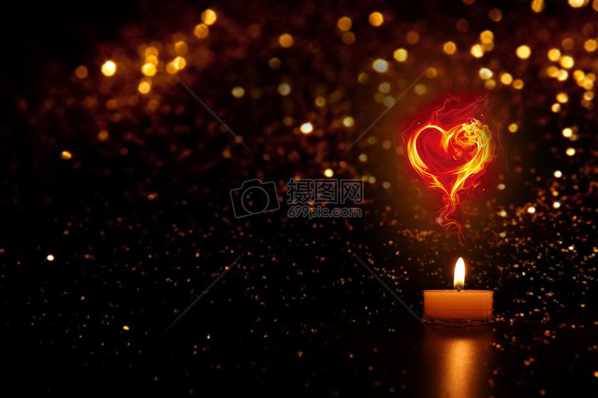 情人节浪漫的爱心蜡烛