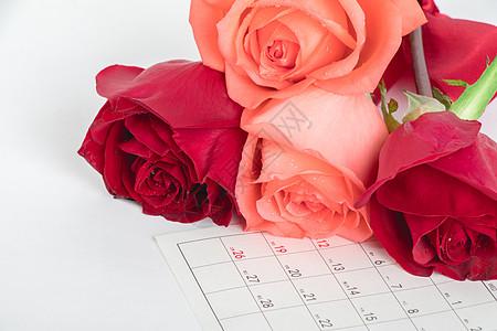 情人节玫瑰日历图片