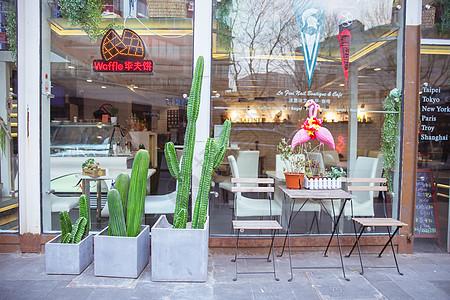 清新文艺绿植咖啡店高清图片