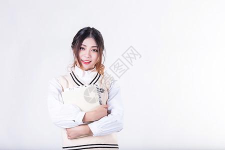 清新甜美可爱女生校园弹乐器摄影图片免费下载_人物