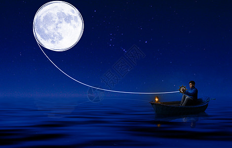 坐在小船上牵着月亮的人图片