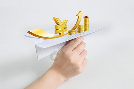 摄图网-手拿纸飞机财富升值图片