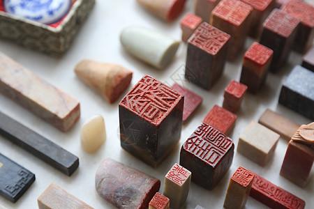 中国工匠雕刻石头印章图片