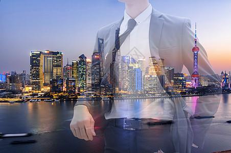 时尚西装男二次曝光城市未来图片