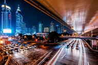 上海城市夜景车流图片