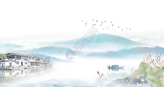 中国风江南云墨水乡背景图片