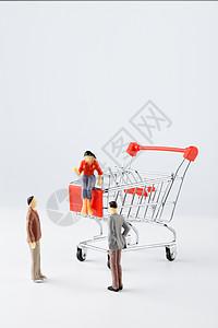 卡通人偶和购物车图片