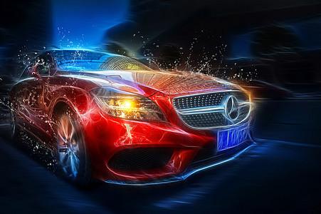 红色的奔驰汽车图片