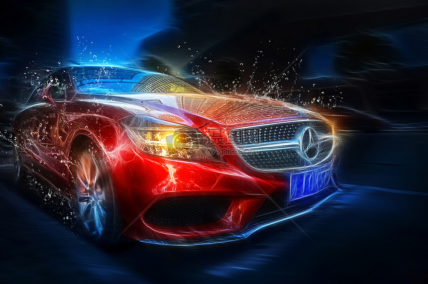 红色的奔驰汽车