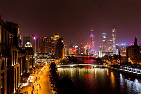 上海城市地标建筑夜景图片
