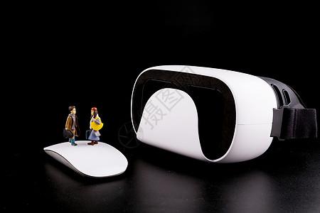 卡通人偶和VR设备图片