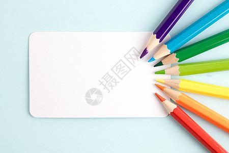 彩色铅笔卡片撞色创意图片