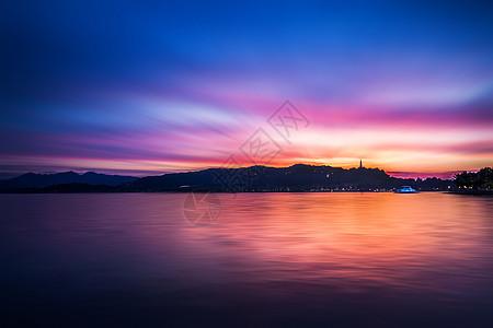 西湖的夕阳图片
