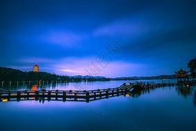 雷峰夕照西湖夜景图片