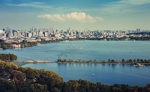 西湖杭州 城市风景 全景 背景高清图片