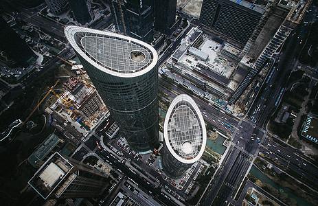高端城市高楼楼顶航拍图片