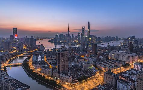 上海外滩陆家嘴日出图片