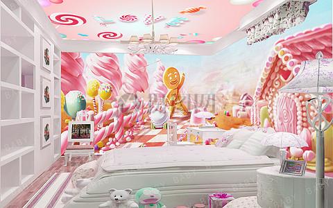 姜饼人儿童房壁画背景墙图片