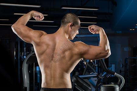 年轻健身教练肌肉线条背影展示图片